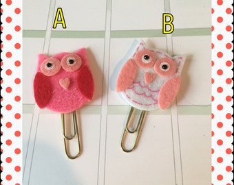 Owl Paper Clips, bookmarks for planners, agendas, calendars, scrapbooks