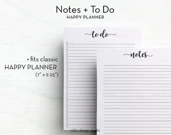 Notes Printable, To Do List, Happy Planner, Printable Planner, MAMBI, MAMBI Planner, To Do List printable, Create365, Me & My Big Ideas