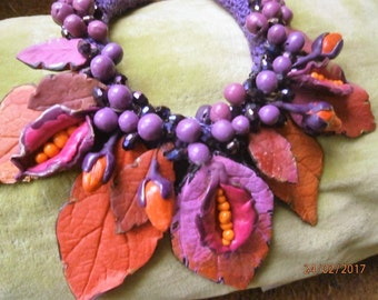 FUCHSIA berries, leaves, in shades of purple, Fuchsia, pink, orange in polymer clay