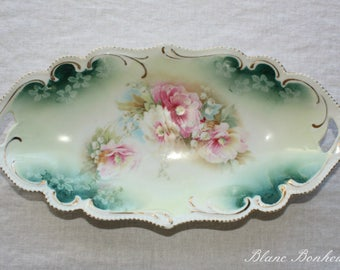 Antique elongated serving plate, tray with colorful flowers