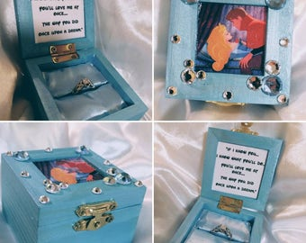 """Disneys """"Sleeping Beauty"""" Princess Aurora & Prince Phillip inspired Proposal Ring Box with Quote inside"""