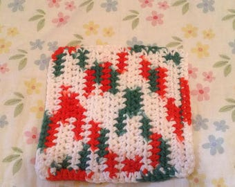 Crocheted Red, White, Green Dishcloth