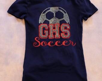 Personalized Rhinestone Soccer t-shirt