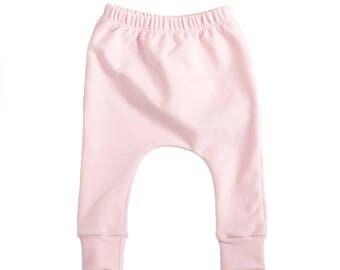 pink harem pants,  pink baby pants, baby pants, toddler harem pants, bamboo harem pants, harem pants