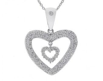 0.75 Carat Pavé Round Diamond Double Heart Pendant on Cable Chain 14K White Gold