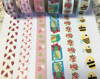 Summer theme washi tape sample. 24 inches of washi tape. Choose from watermelons, pineapples, flamingos, floral, or bees. Planner supplies