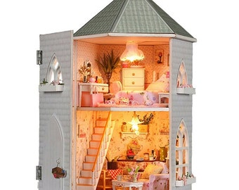 Dollhouse Castle DIY Designs Gift Wood Light Home