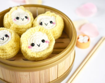 made-to-order | siumai cute dimsum with keychain - handmade crochet - amigurumi - wontoninamillion - stuffed doll