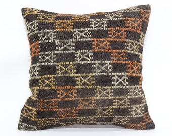 20x20 Naturel Embroidered Kilim Pillow Fllor Pillow 20x20 Handwoven Kilim Pillow Throw Pillow Sofa Pillow Ethnic Cushion Cover SP5050-1511