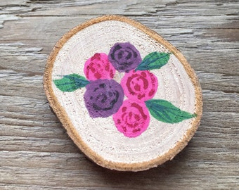 Teacher Gift, Fridge Magnet, Wood Slice, Hand Painted Flowers, Inspirational Quote, Be Happy, Valentines Gift, Gifts For Her, Floral