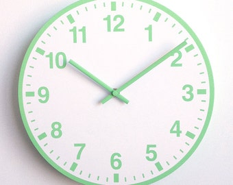 Station WALL CLOCK 30cm with numbers - Green