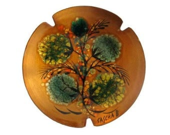 Vintage Sascha Brastoff Signed Enamel on Copper Ash Tray Dish
