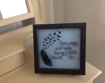 Bcause someone we love is in heaven - Black Rustic Frame Shadow Box