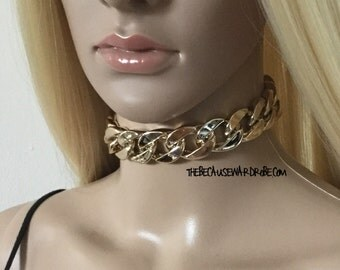 Gold Choker Necklace  FREE WW Shipping!! Chunky Chain Choker Necklace
