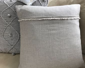 Hand made linen cushion cover in light grey and darker thick grey backing  with a 47 cm x47 cm feather pad
