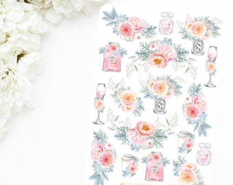 FROSTED PEONY | Floral Deco Sticker Sheet