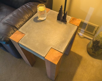 side table, end table, night stand, accent table, concrete, wood