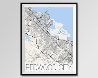 REDWOOD CITY California Map, Redwood City City Map Print, Redwood City Map Poster, Redwood City Wall Art, Custom Personalized California map