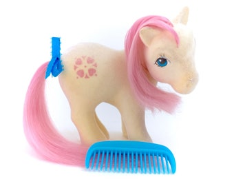 G1 My Little Pony So Soft Sundance Complete With Comb Vintage Original 80s Ponies Hasbro Flocked Fuzzy Megan Molly White Pink Hair Kawaii