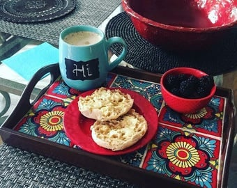 Decorative Serving Tray, Talavera, Coffee Table Tray, Ottoman Tray, Wood Serving Tray, Mexican Decor, Serving Tray,Vanity Tray, Organization