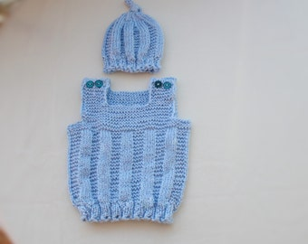 2 FOR 1, PDF Knitting pattern, Patron tricot english/ francais Adisson SET = Vest +Hat (6/12month- 12/18 month - 18/24 month- 2/3years old )