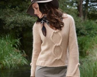 Sweater/knit sweater, alpaca superfine, mohair super kid, Silk