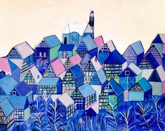 Colourful Little Blue Village A3- A4 Giclée Print