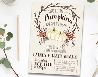 Twin Fall Baby Shower Invitation Invites for Twins, Twin Pumpkin Fall Autumn Rustic Gender Neutral Baby Shower Invitation Invite for Twins