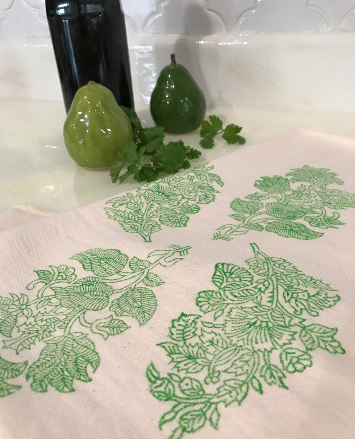 Dish towel / Hand / Tea / Dishcloths / Kitchen / Organic Cotton Terry / Green / Off White / Floral Hand Printed / Home Decor / Eco Friendly
