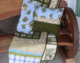 Modern Baby Quilt Set -- Frog and Toad Theme