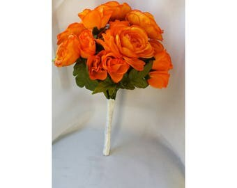 Orange Bouquet Orange Wedding Bouquet Orange Bridal Bouquet Orange Bridesmaids Bouquet Orange Silk Rose Bouquet Orange Rose Bouquet Yellow