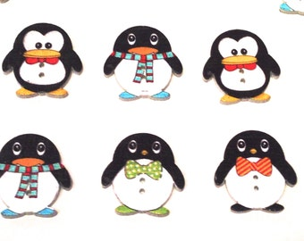 Penguin seller painted wooden buttons hand sewing 24 * 23 mm scrap craft clothing wood button for customize your packs to give away