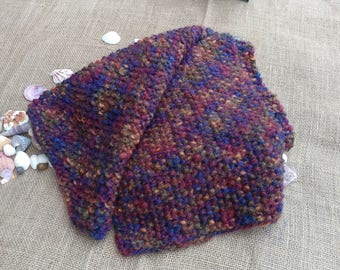 Handmade Hand Knit Long Multicolored Textured Scarf Ready to Ship RTS