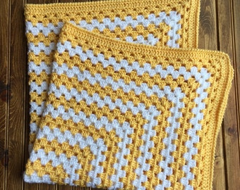 READY TO SHIP. Crochet Baby Blanket. Gender Neutral Yellow Blanket. Granny Square Baby Afghan.