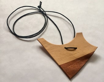 Statement necklace, recycled leather, leather jewelry