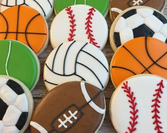 Sports Themed Cookies (1 dozen)