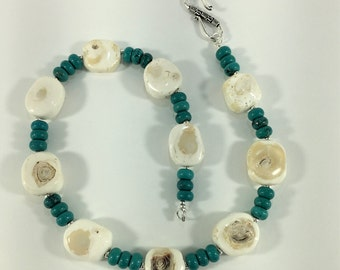 White Bamboo Coral and Turquoise Rondel Necklace  MN16109