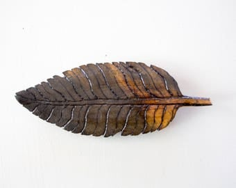 Hand Carved Wooden Feather
