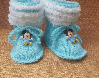 Mickey mouse bbooties Baby booties, baby shoes, baby boots,socks Baby Booties  Crib Shoes-Baby Soft Shoes Boys Booties Disney stay on socks
