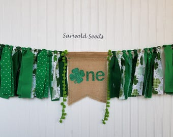 St Patricks Day Fabric Banner, Birthday, Highchair, Cake Smash, Photo Shoot, Back Drop