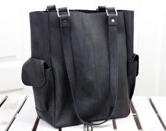 Vintage Black Leather Shopper Tote Bag 12052