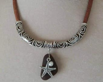 Leather cord necklace.