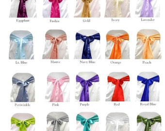 SATIN Chair Sashes 10 PACK - Variety of Colors