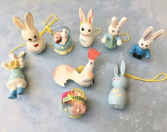 9 Adorable Vintage Wooden Easter Ornaments with Bunnies and Chicks