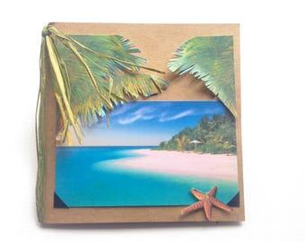 Handmade Greeting Card: Palm,vacation,honeymoon,beach,starfish,serene,summer,summer vacation,island,cruise,sea,aqua,sand,get away,travel,sea