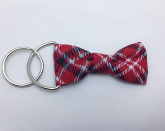 Garnet Plaid Bow Tie Keychain