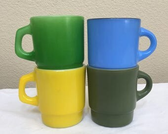 Lot of Fire King Stackable Coffee Mugs
