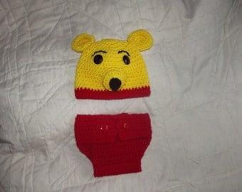 Crochet winnie the pooh diaper cover set