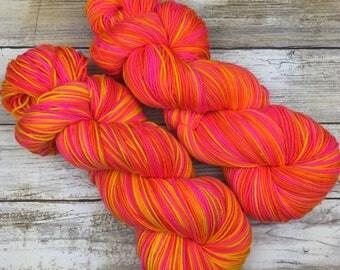 Hand Dyed Yarn | Superwash Merino Wool/Nylon Blend | Full-Bodied Sock/Fingering Weight | 100 g. | Passion Tango | 4-ply