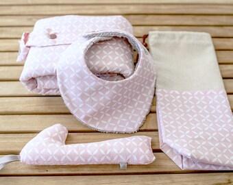 Birth Gift Kit | Changer, multi-purpose bag, bandana and rattle bib | Rosa Astre
